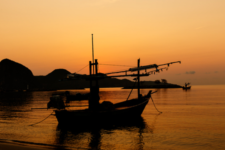 sea scape: Boats on the beach with the sunset.Beautiful natural seascape