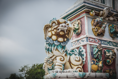 majesty: Dragon stucco on wall in chinese temple Stock Photo