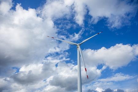 windy energy: Wind turbine background sky