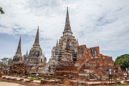 Ayutthaya, Thailand -MAY 21,2016: Wat Sri Sanphet landmark cultural organization UNESCO, which was registered as a World Heritage Ayutthaya, Thailand. Editorial
