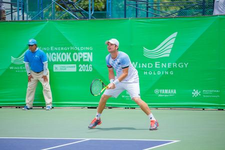 finals: BANGKOK, Thailand - September 4: Blaz Kavcic of Slovenia in the finals of Wind Energy Holding Bangkok Open 2016 at Rama Gardens Hotel on Sep 4, 2016 in Bangkok, Thailand.