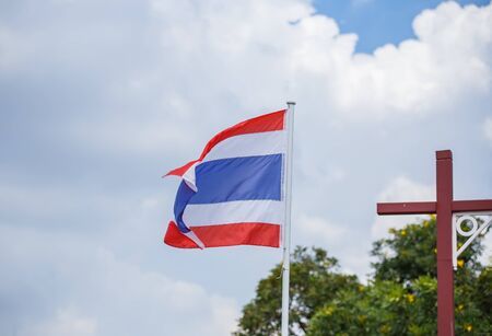 flagstaff: Thai flag of Thailand with blue sky background. Stock Photo