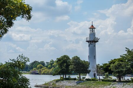 The lighthouse in Thailands Phra Nakhon Si Ayutthaya Province.Near Bang Pa-in Palace Stock Photo