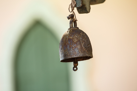 old metal: Old bell at the gate as a backdrop.