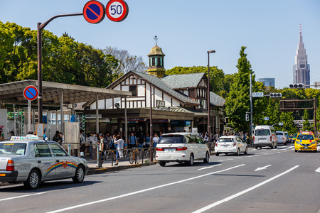 TOKYO, JAPAN - MAY 2, 2017: Harajuku Railway Station It is one of the oldest stations in Tokyo. And in the future will be upgraded to a modern station to support the 2020 Olympics.
