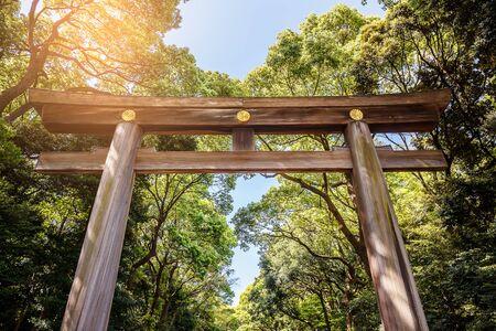 harajuku: Big wooden gate to the Meiji-ji jingu Temple Tokyo,Japan. Stock Photo