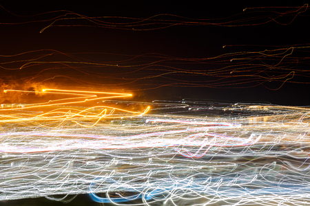 intentional: Light from the camera movement at night. Stock Photo