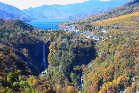 The almost 100 meter tall Kegon Waterfall  Kegon no taki  is the most famous of Nikko Stock Photo