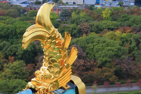 View from Osaka Castle, Osaka, Historic Japan, golden fish on the roof of Osaka Castle