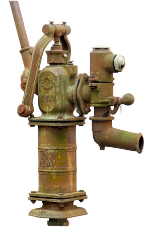 Old rusty water pump manual-control, isolated over white background Stock Photo