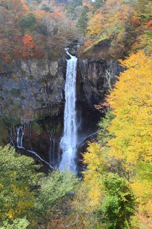 The almost 100 meter tall Kegon Waterfall (Kegon no taki) is the most famous of Nikko's many beautiful waterfalls.  photo