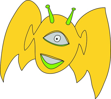 Smiling alien fly over white background. Lost in space vector Stock Vector - 17209048