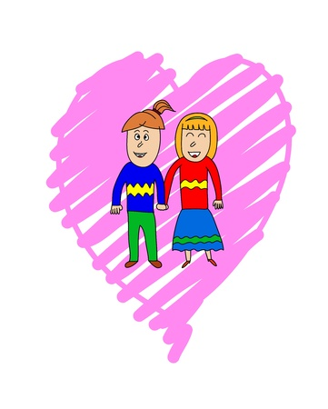 A couple in love holding hands over pink heart background. Valentines Day two people in love holding hands.  Illustration