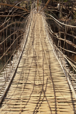 Tunnel bamboo weave bridge in southern laos Stock Photo - 18847627