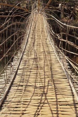 Tunnel bamboo weave bridge in southern laos Stock Photo - 18847627