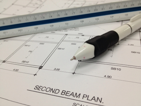 print: Blueprint with ruler and pen