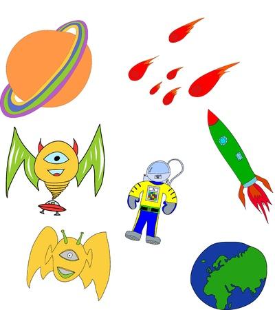 streaking: Spaceman, alien, spacecraft, meteorite, planet earth, planet saturn. Over white background