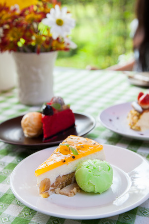 Cheese cake and ice-cream on plate  with fruit topping  photo