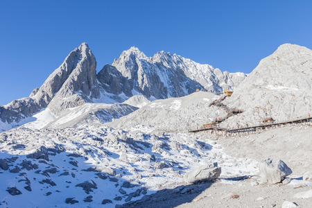 View of Jade Dragon Snow Mountain. Jade Dragon Snow Mountain is a mountain near Lijiang, in Yunnan province, southwestern China.