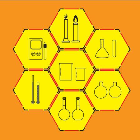 laboratory equipment: Science icons set on white background. Laboratory equipment.