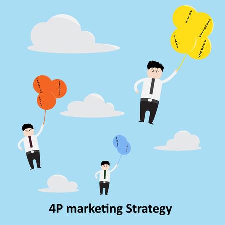 4p: 4P marketing Strategy Concept.