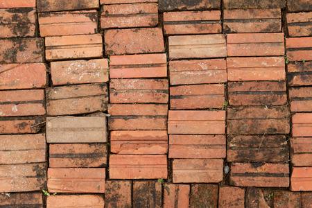 brick floor: Background of brick floor texture. Stock Photo