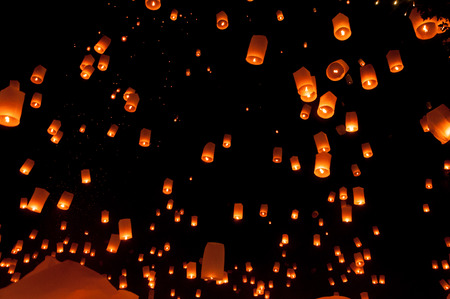 hot asian: YEE PENG FASTIVAL Floating lantern in Yee Peng festival (Loy Krathong), Buddhist floating lanterns to the Buddha in Sansai district in CHIANG MAI THAILAND.
