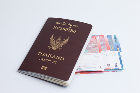Thai passport with switzerland currency. Switzerland banknote.