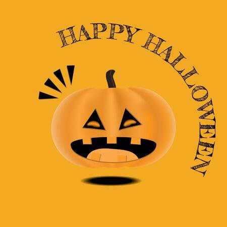 Vector Cute Happy Halloween design template. Laugh pumpkin. Illustration