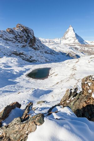 The Matterhorn,Switzerland. View Of Matterhorn In Swiss Alps. Matterhorn with Riffelsee, Zermatt, Switzerland