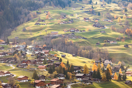 Grindelwald is a village and municipality in the Interlaken-Oberhasli administrative district in the canton of Bern in Switzerland. Stock Photo