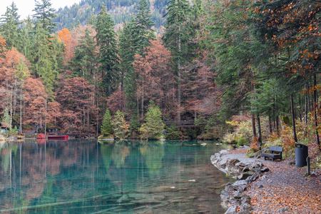 Blausee. One of the best-known mountain lakes in Switzerland. Beautiful crystal-clear color water with green tree around the lake. Stock Photo