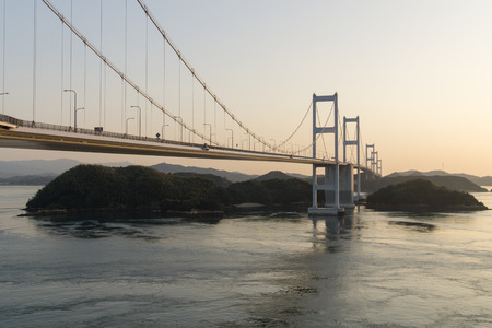 The Shimanami Kaido is a 60 kilometer long toll road that connects Japan's main island of Honshu to the island of Shikoku