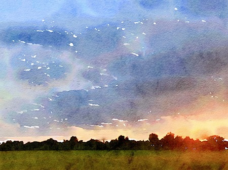 Sunset at rice field in thailand. Simulated to water color paint from photo. Stock Photo