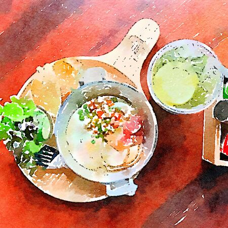 Thai style breakfast water color paint. Fired egg, minced pork, thai style sausage, salad and bread.