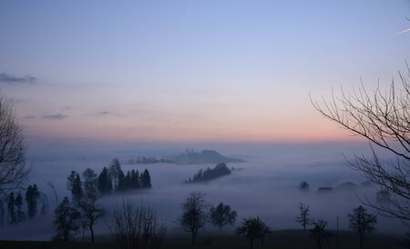 Great view of the foggy Val landscape near Zuerich