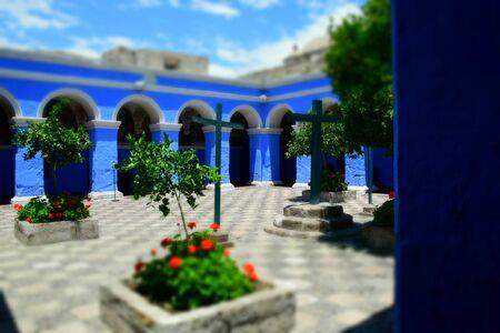 blue courtyard in the abbey of santa catalina in arequipa, peru Monastery of Santa Catalina