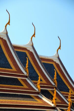 Close up of colorful temple roof.