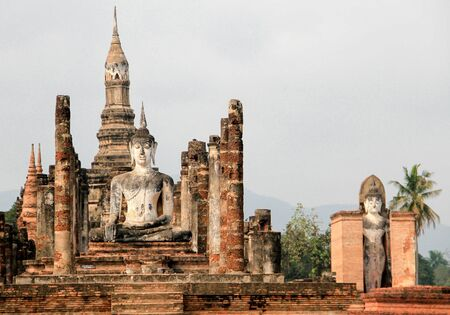 Anient sukothai historical park, Buddhism heritage. Statue 写真素材