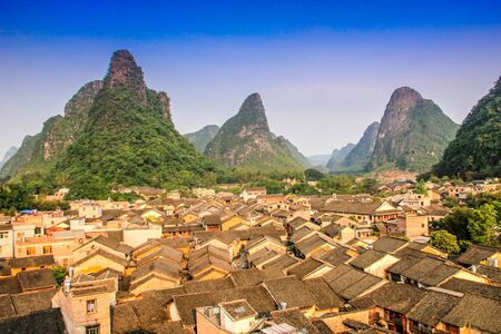 panoramic view of yet unknown oldtown of Huangyao in Zhaoping County, Guangxi 스톡 콘텐츠