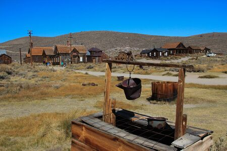Water well in front of the abondoned gold mining town Bodie. California, USA