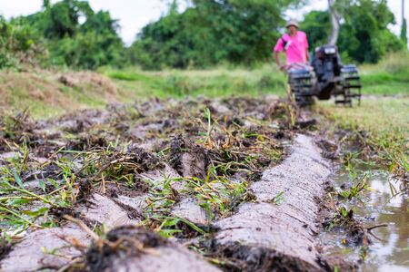 Soil just had been plowed preparing for plantation. 写真素材