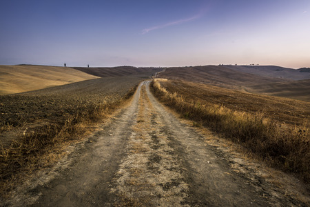 Road to nowhere, sunrise landscape in Val dOrcia