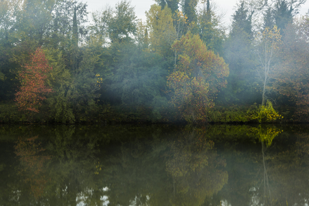 Fog and autumnal trees on the river