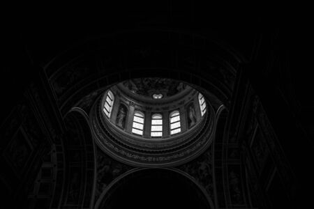 Dome of Mantua church, low light, dark picture Stock Photo