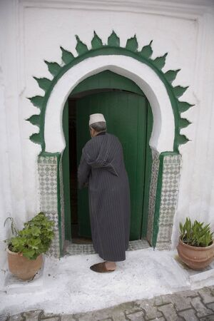maroc: A man is going home in old town of Tanger, Maroc