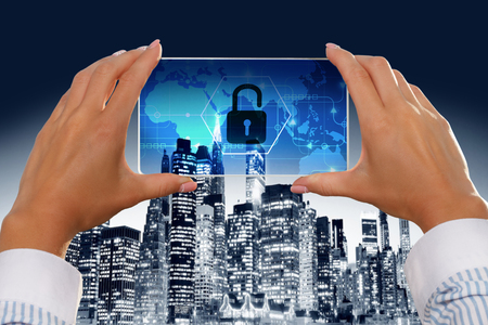 lockout: The girl looks at a virtual screen of a smartphone icon security.