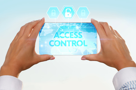 cyber defence: The girl looks at a virtual screen of your smartphone. Text access control. Stock Photo