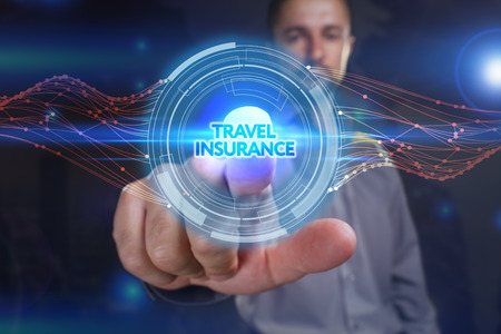 insurer: Business, Technology, Internet and network concept. Young business man chooses the virtual screen: travel insurance