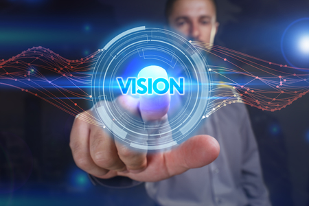 Business, Technology, Internet and network concept. Young business man chooses the virtual screen: vision Stock Photo